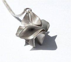 Silver origami pendant