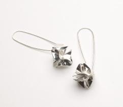 Silver origami drop earrings