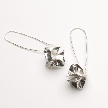 Silver origami drop earrings
