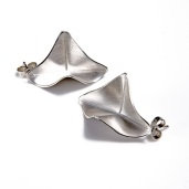 Silver origami stud earrings