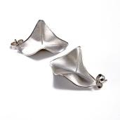 Silver origami stud earrings
