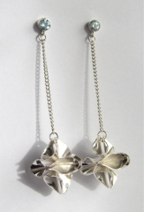 Silver origami earrings with topaz.