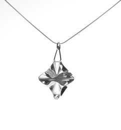 Silver origami pendant with topaz.
