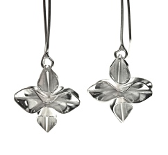 Silver origami drop earrings.