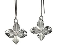 Silver origami drop earrings.